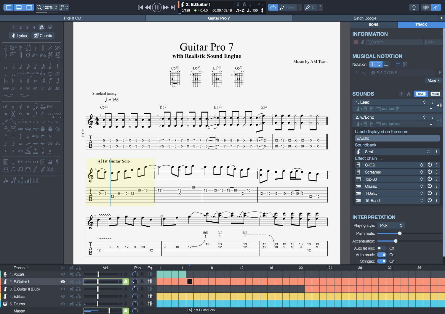 Guitar Pro Sheet Music Editor Software For Bass Keyboards How To Read Chord Diagrams Learn Play Drums And More